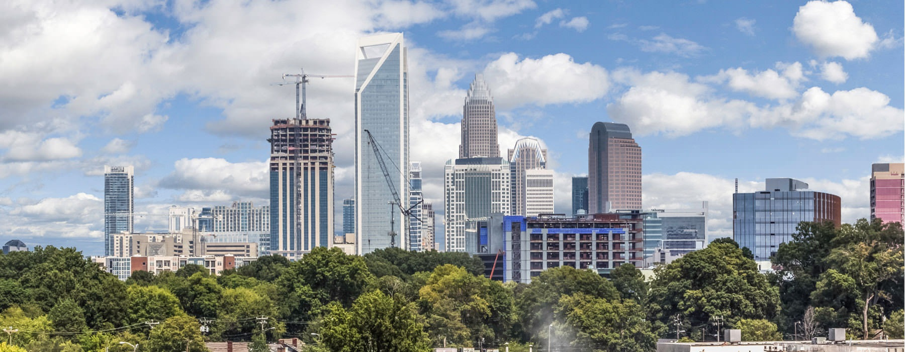 Skyline of Charlotte, NC on a bright sunny day