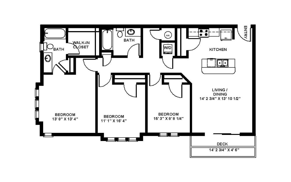 Byron - 3 bedroom floorplan layout with 2 baths and 1168 square feet.