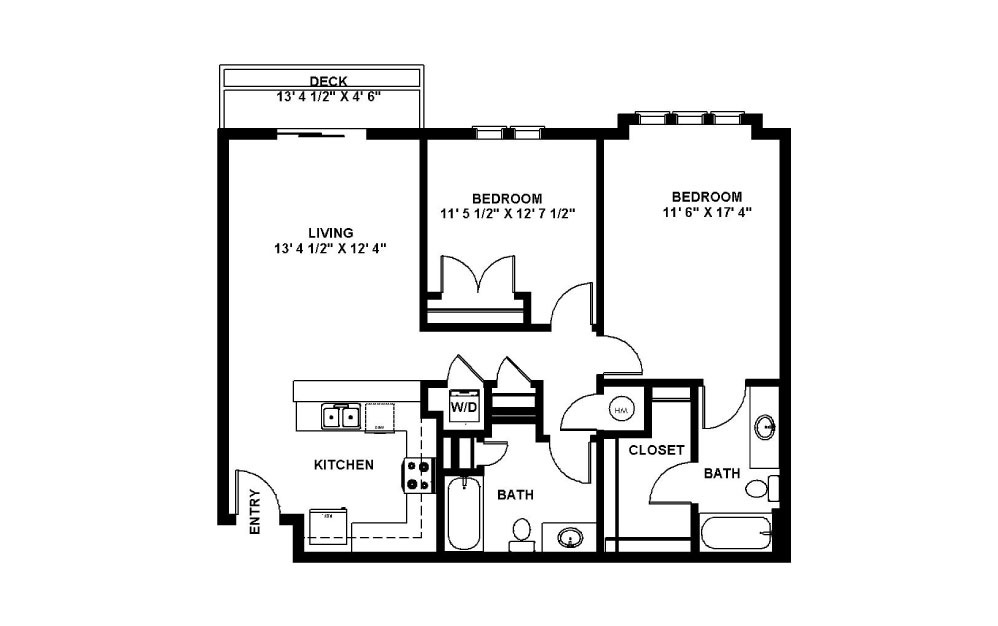 Copper - 2 bedroom floorplan layout with 2 baths and 1021 square feet.
