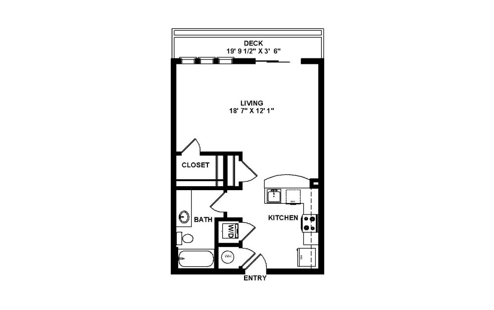 Liberty - Studio floorplan layout with 1 bath and 525 square feet.