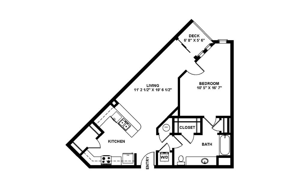 Luciano - 1 bedroom floorplan layout with 1 bath and 715 square feet.