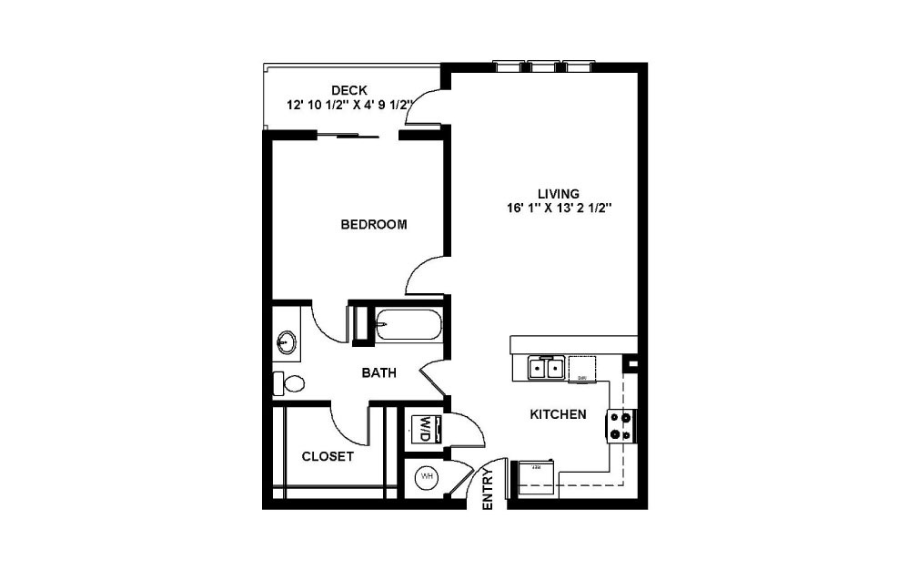 Owen - 1 bedroom floorplan layout with 1 bath and 752 square feet.
