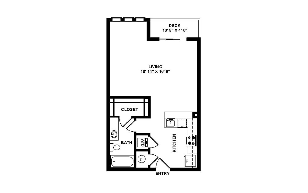 Sullivan - Studio floorplan layout with 1 bath and 561 square feet.