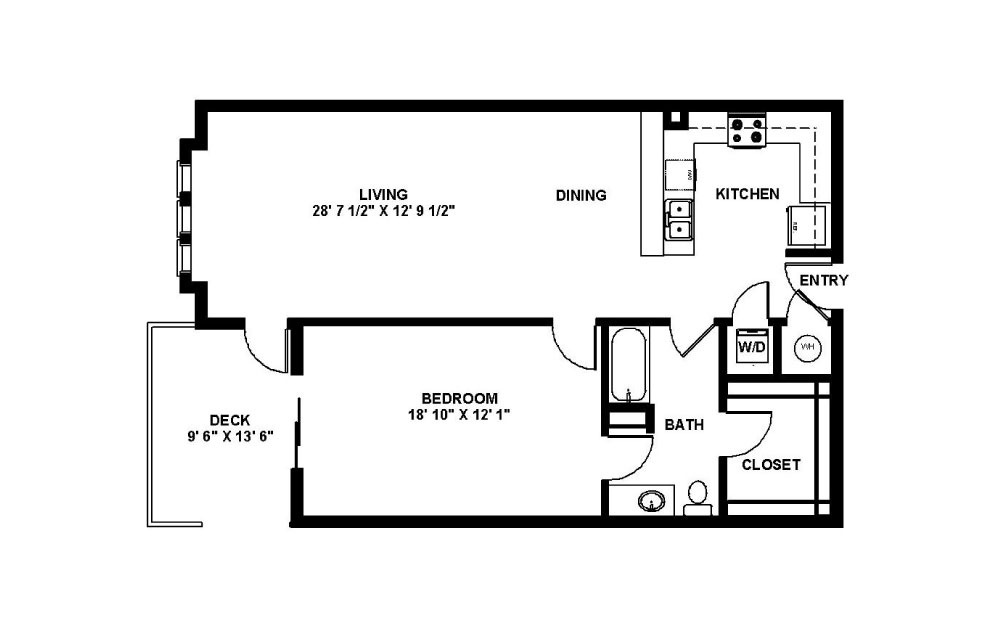 Tyber - 1 bedroom floorplan layout with 1 bath and 925 square feet.